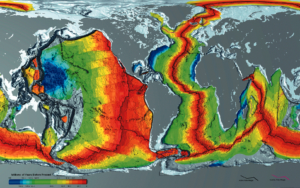 Map of seafloor and formation of oceanic ridges
